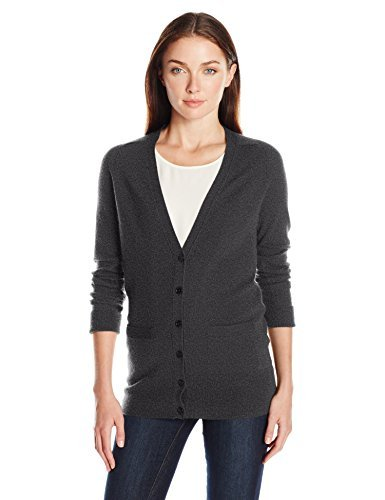 Amazon Brand  Lark amp Ro Women#039s 100% Cashmere Soft Boyfriend Cardigan Sweater Charcoal Small