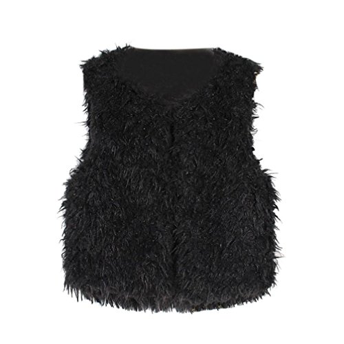 Fabal Autumn Winter Baby Sleeveless Faux Fur Vest Baby Girl Winter Waistcoat Fur Vest For Baby Clothing (2T-3T, Black)