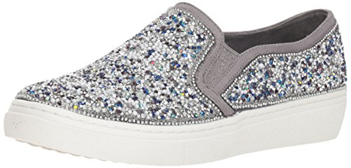 (Skechers Women's Goldie-Rock Show. Scattered Rhinestone and Beads Slip on Sneaker, Charcoal, 5 M US)