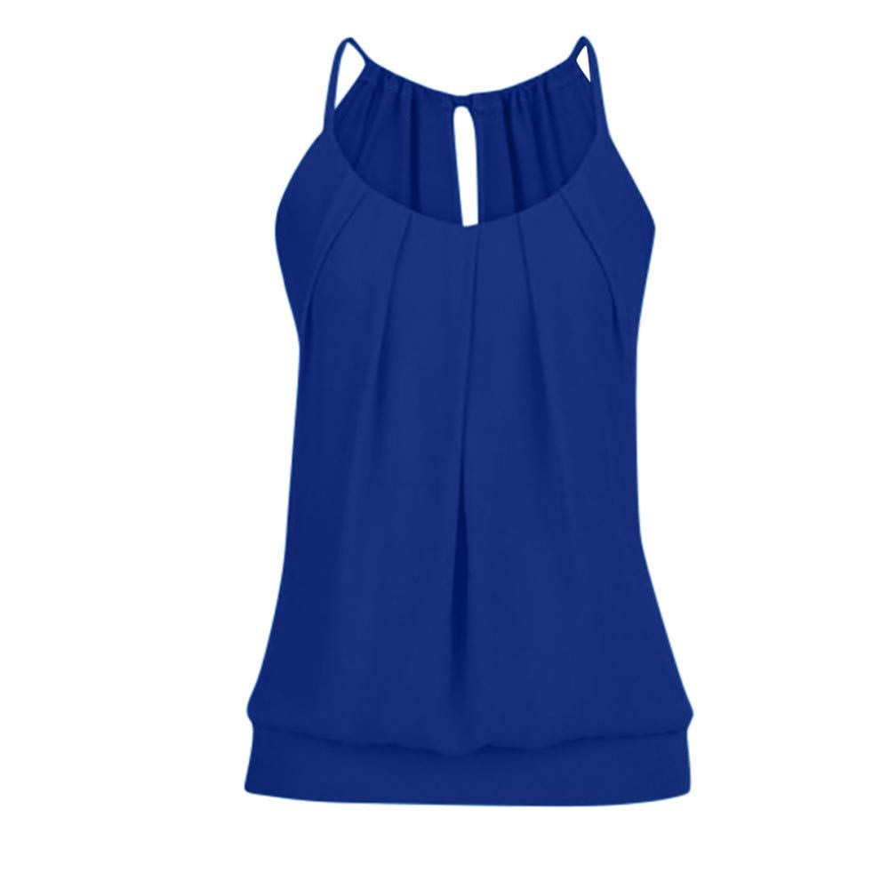 iLUGU Women Summer Loose Wrinkled O Neck Scoop Neck Cami Tank Sleeveless Top Vest Blouse Safety Dark Blue