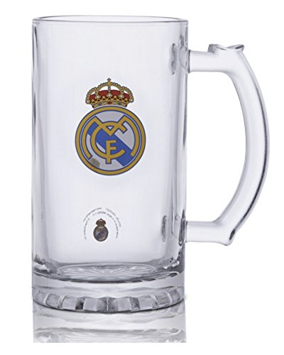 (Real Madrid FC Set of Four (4) Short Beer Mugs - 4 Glass Mugs with The Real Madrid Crest in Full Color - Set of Four Real Madrid Beer Mugs - Get One for A Friend, Get A Set for You Too!)