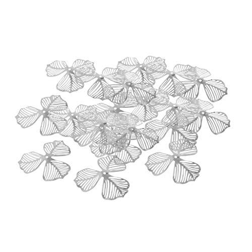 Prettyia Filigree Flower Pendants Charm Hollow Metal Pendant Jewelry Findings DIY Craft for Chinese Hairpin Hair Accessories Making Silver