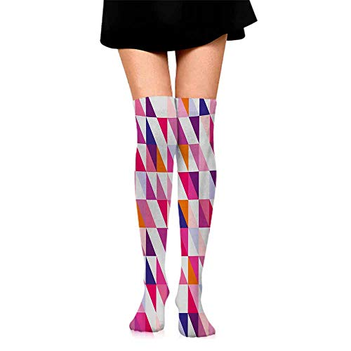 Hip Hop Street Style Sock Navy and Blush,Geometric Mosaic Design Hipster Colorful Triangles Artful Aztec Retro Style,Multicolor,socks for toddler boys with grip (Sailboat Mosaic)