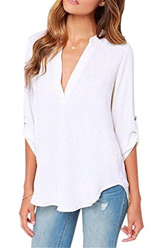 Shirt Blanc Blouse et Longues Irrgulier Automne Mode V Lache Ajustable New Haut Tops Femme Chemisiers Manches Col Printemps 4qvT00Aw