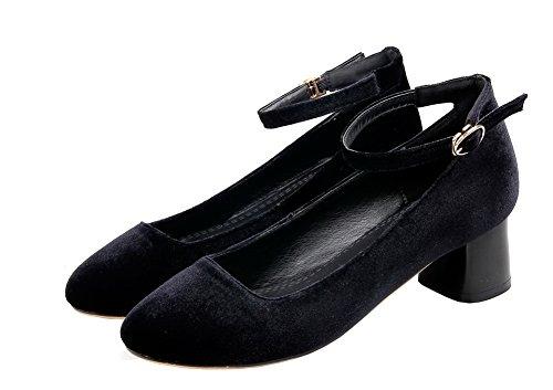 Amoonyfashion Damesgesp Lage Hakken Nagebootst Suède Stevige Pumps-schoenen Zwart