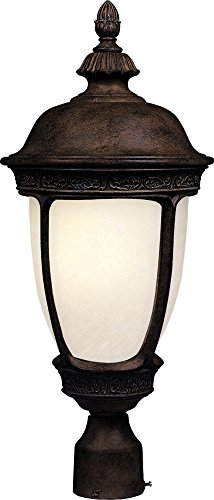 Maxim 85460SFSE Knob Hill EE 1-Light Outdoor Pole/Post Lantern, Sienna Finish, Snow Flake Glass, GU24 Fluorescent Fluorescent Bulb , 60W Max., Dry Safety Rating, Standard Dimmable, Glass Shade Material, 1344 Rated Lumens