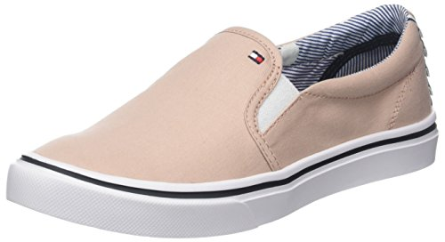 Tommy Hilfiger Women's Textile Light Weight Slip on Low-Top Sneakers, Blue/White Pink (Dusty Rose 502)