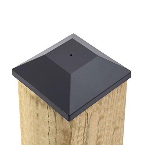 ((32 Pack) New Wood Fence Post Black Caps 6X6 (5 5/8