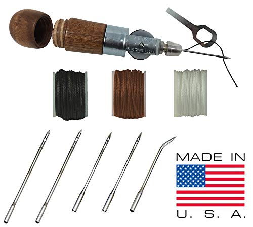 - Professional Leathercraft Accessories, Sewing, Stitching Awl Tool Kit & Supplies, HEAVY DUTY - MADE in USA - DIY Craft, Leather, Heavy Fabric, Canvas, Upholstery, Bag, Shoe, Belt Repair Lockstitch Set