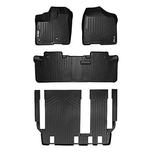 SMARTLINER Floor Mats 3 Row Liner Set Black for 2013-2018 Toyota Sienna 8 Passenger Model