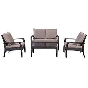 Giantex 4pc Patio Rattan Furniture Set Tea Table &Chairs Outdoor Garden Steel Frame from Giantex