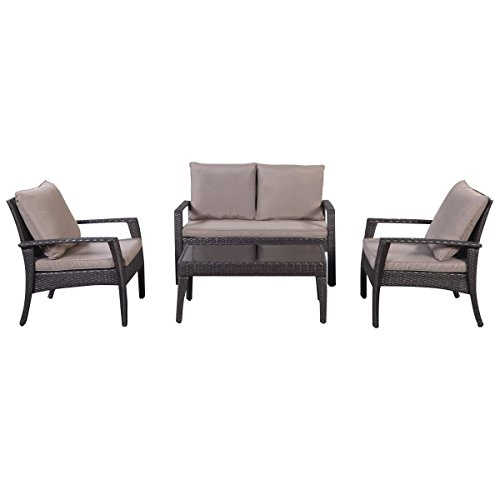 Tangkula 4 Pcs Outdoor Patio Deck Wicker Furniture Set Tea Table and Chairs by Tangkula