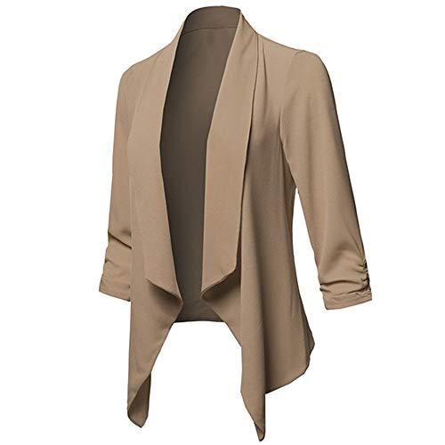 Longues Bringbring Couleur Avant Manteau Kaki Veste Cardigan Blazer Unie Femme Ouvert Manches de PqU0wPxH