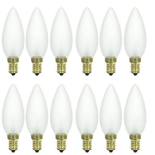 - Sunlite 40CTF/32/E14/12PK 40W Incandescent Torpedo Tip Chandelier with Frosted Light Bulb and European E14 Base (12 Pack)