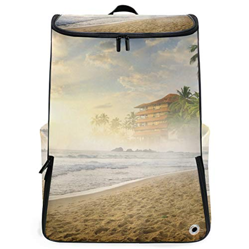 Stylish Travel College Laptop Gym Backpack with Shoe Compartment Coast Waves Fog Sand Palms Beach