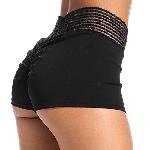YOFIT Women Ruching Butt Lifting Athletic Shorts Tummy Control High Waist Gym Shorts Push Up Hot Pants Black M