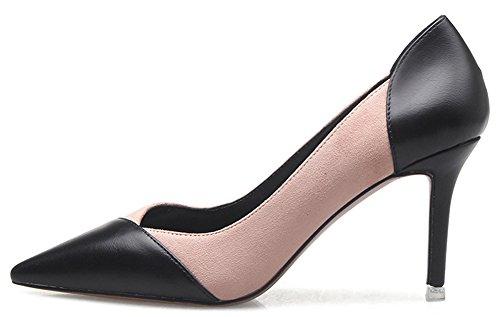 Idifu Womens Dressy Chiuso Scarpe A Punta Basse Slip Slip On Mid Kitten Tacchi Scarpe Rosa