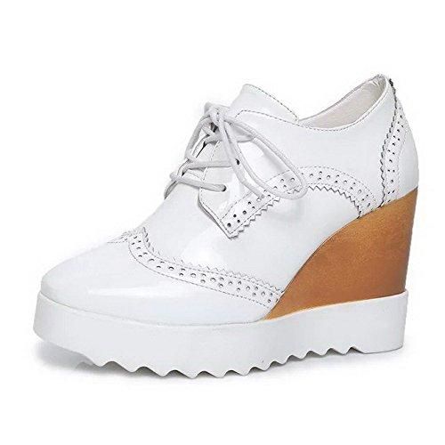 Amoonyfashion Donna Lace Up Pu Tacco Tacco Alto Tacchi Solidi Pompe-scarpe Bianche