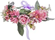 HAIMEIKANG Adjustable Flower Crown Headband - Women Girl Festival Wedding Flower Wreath Headband