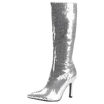 Funtasma Stiefel mit Pailletten, silber, Größe 9, 39 EU