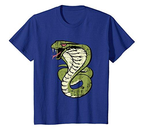 - Kids King Cobra Hissing Distressed Snake Lover T-Shirt 6 Royal Blue