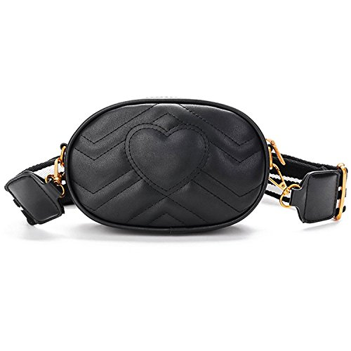 Fanny Pack for Women Quilted Waist Bag Cell Phone Bags with 2 Belts Black