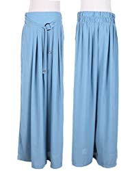 Maxchic Women's Cotton Blended Elastic Waist Wide Leg Pants C07465G13M,Blue,Large