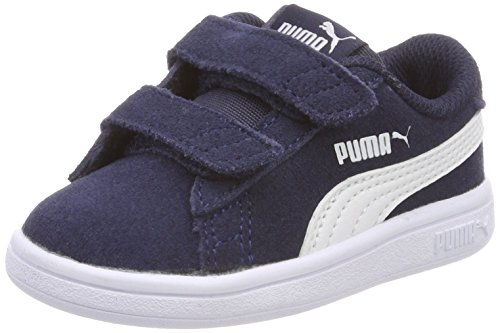 Puma Smash V2 SD V Inf, Sneakers Basses Mixte Bébé Bleu (Peacoat-puma White)