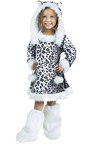 [Fun World Costumes Baby Girl's Snow Leopard Toddler Costume, White/Black, X-Large(4-6)] (Leopard Kids Costumes)