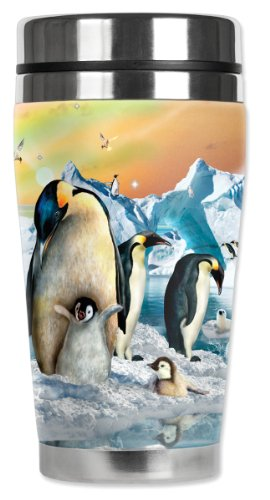 Mug Black Chick - Mugzie Penguin Chicks Travel Mug with Insulated Wetsuit Cover, 16 oz, Black