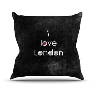 "Kess Inhouse ir2036aop0318x 45,7cm ""Ingrid Beddoes Me encanta Londres negro Grundge"" al aire libre manta cojín–Multicolor"