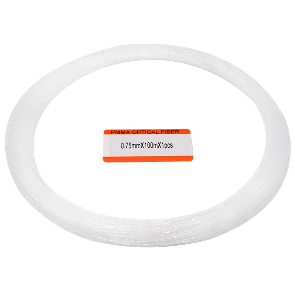 /Φ0.03in//0.75mm 328ft//100m Long PMMA Plastic End Glow Fiber Optic Strands Cable for Star Sky Ceiling Kit 1 roll