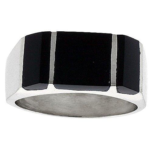 Sterling Silver Obsidian Rectangular Handmade