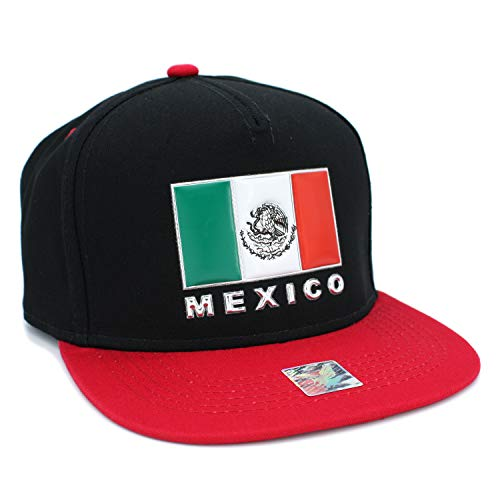 - Mexico Flag Eagle Rubber Patch Flatbill Adjustable Snapback Cap, 100% Cotton (Square-PVC/Black/RED)