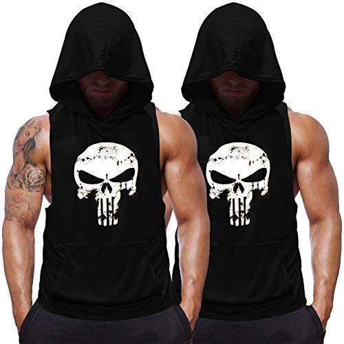 (Men's Sleevelsee Hoodie Shirts Skull Print Bodybuilding Stringers Tank Top Muscle Workout Fitness Vest (Black_2 Pack, X-Large))