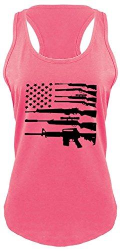 Ladies Racerback Tank Gun American Flag Shirt Patriotic USA Pride Tee Hot Pink XL (Pink Guns Shirt)
