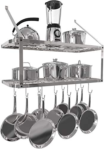 - VDOMUS Shelf Pot Rack Wall Mounted Pan Hanging Racks 2 Tire (Silver)
