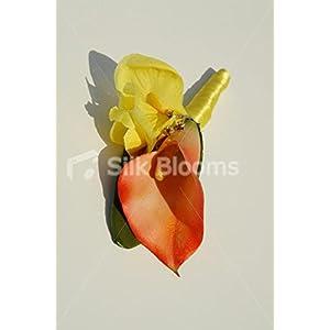 Bright Orange Calla Lily & Yellow Iris Buttonhole w/ Crystal Pin 6