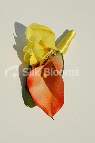 Bright-Orange-Calla-Lily-Yellow-Iris-Buttonhole-w-Crystal-Pin