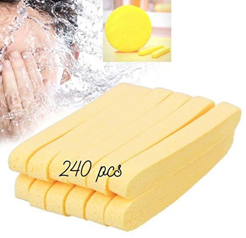 (Huini Compressed Salon Spa Facial Cleansing Sponge Sticks, Natural (240 Count))