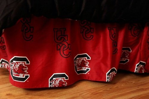 College Covers South Carolina Gamecocks Printed Dust Ruffle - Queen