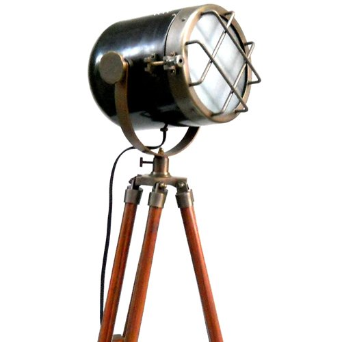 Tone Antique Finish (Retro Look Antique Marine Ship Searchlight Nautical Floor Lamp Double Tone Finish Brown Tripod)