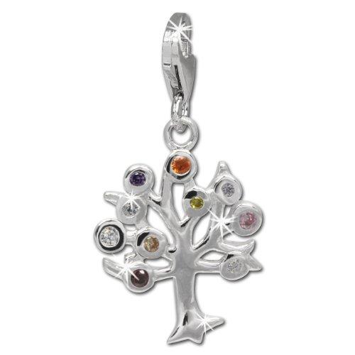 SilberDream Charm Lebensbaum mit bunten Zirkonias 925 Sterling Silber Charms Anhänger für Armband Kette Ohrring FC722F