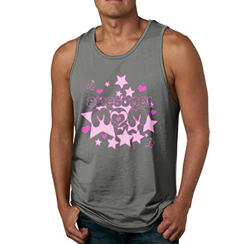 (VANMASS Mens Awesome Mom Sleeveless Tank Top T Shirt Deep Heather)