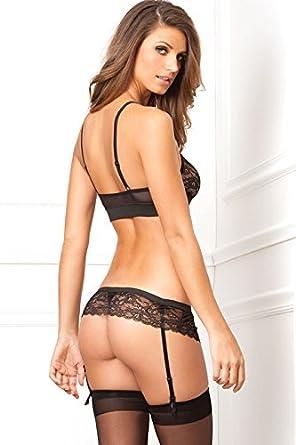 4df1fdd4b Amazon.com  Rene Rofe Women s Lace Snapped Bra and Garter Thong Set ...