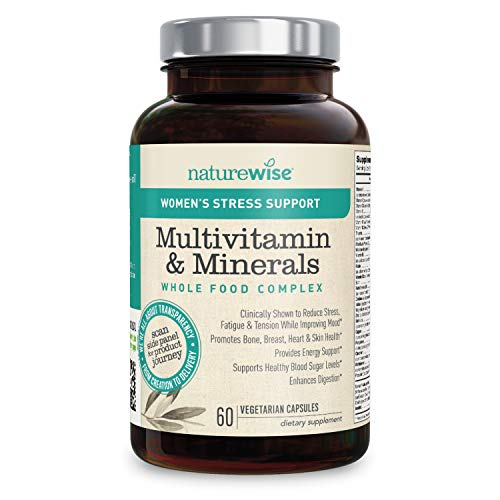 NatureWise Women's Multivitamin Whole Food Complex with Stress Support | Vitamins for Healthy Heart & Bones + Sensoril Ashwagandha to Reduce Stress (⬇ Watch Video in Images) [1 Month - 60 Count]