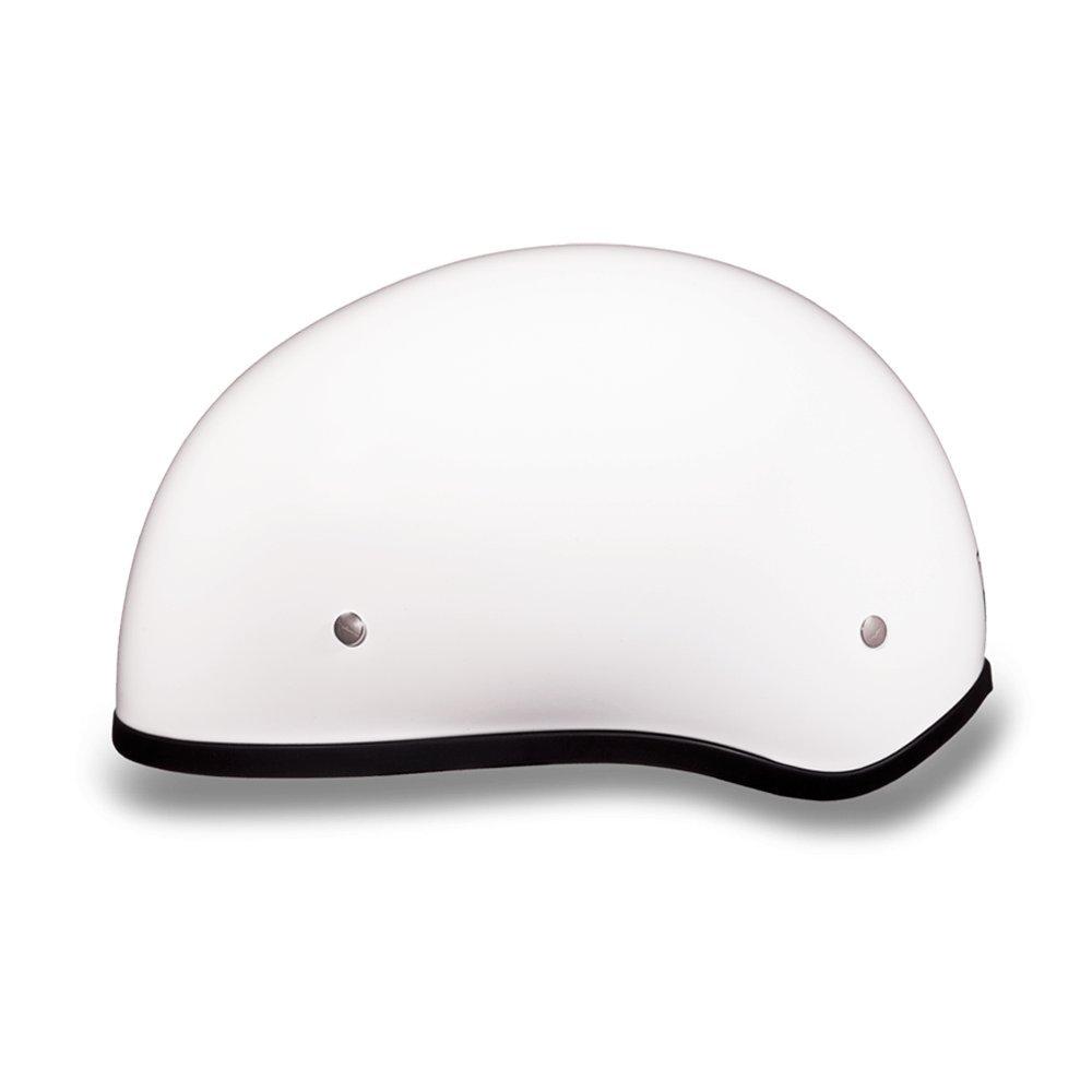 Daytona Helmets Motorcycle Half Helmet Skull Cap Hi-Gloss White W//O Visor 100/% DOT Approved