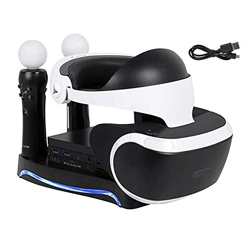 Lenboken PSVR 2ND Upgraded 4-in-1 Charge & Display Stand ,Generation Multi function Stand with Storage Headpiece Holder, 2 Move Controllers Rapid Charging Station and Processor Unit Stand
