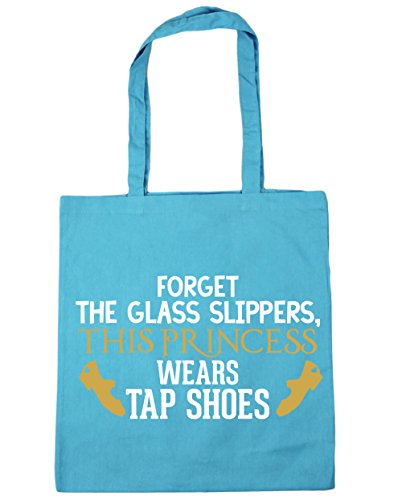 HippoWarehouse Forget the glass slippers, this princess wears tap shoes Tote Shopping Gym Beach Bag 42cm x38cm, 10 litres Surf Blue