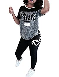 Women 'Pink' Letter Print Short Sleeve Crop Top Bodycon...